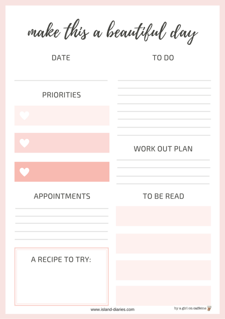 Free printable planners to organize your life - Island Diaries
